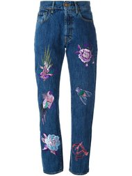 embroidered high-waisted jeans Aries