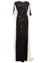 embroidered bat-wing sleeve gown Oscar de la Renta