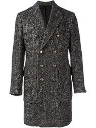 двубортное пальто в елочку  Hevo