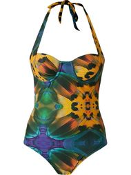 feather print swimsuit Blue Man