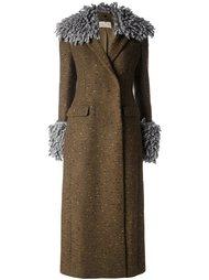 пальто с шерстяной отделкой  Christopher Kane