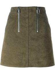 мини юбка А-образного силуэта с молниями Courrèges