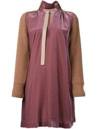 бархатное платье с контрастными вставками Sacai