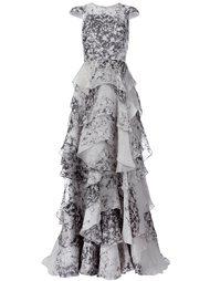 вечернее платье с рисунком и оборками Christian Siriano