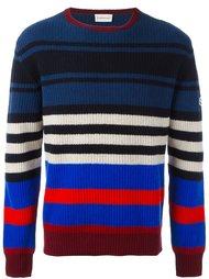 полосатый свитер с отделкой в рубчик Moncler