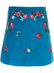 юбка А-силуэта с цветочной вышивкой Vivetta