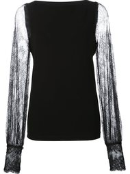 блузка с полупрозрачными кружевными рукавами Plein Sud