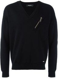 zip detail v-neck sweatshirt Dsquared2
