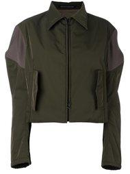 puff sleeve contrast cropped jacket Yohji Yamamoto