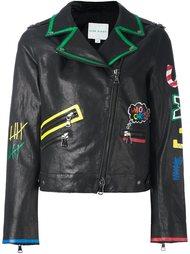 scribble print biker jacket Mira Mikati