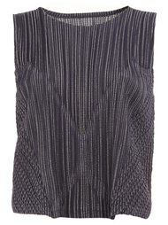 striped effect sleeveless top Pleats Please By Issey Miyake