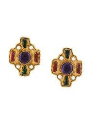byzantine gripoix clip-on earrings Chanel Vintage