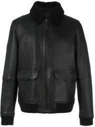 кожаная куртка с воротником из искусственного меха Michael Kors
