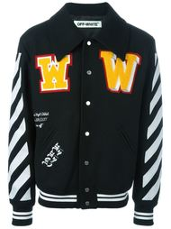 университетская куртка с полосками на рукавах Off-White