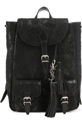 Кожаный рюкзак Festival с отделкой кружевом Saint Laurent