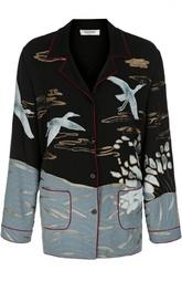 Шелковая блуза в пижамном стиле с вышивкой Valentino