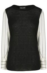 Пуловер с круглым вырезом и шелковыми рукавами Giorgio Armani