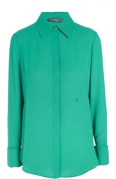 Шелковая блуза прямого кроя с удлиненной спинкой Alexander McQueen