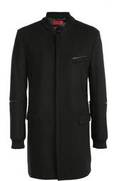 Шерстяное однобортное пальто с декоративной отделкой из кожи Hugo