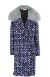 Шерстяное пальто с воротником из меха енота Emilio Pucci