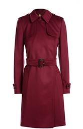 Кашемировое пальто с поясом и широкими лацканами Burberry