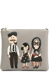 Кожаная сумка с аппликацией DG Family Dolce & Gabbana