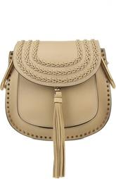 Кожаная сумка Hudson small с плетением и металлическим декором Chloé