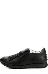 Кожаные кроссовки с бахромой Tod's