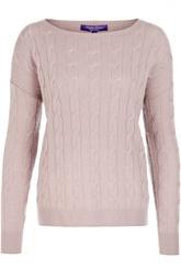 Кашемировый пуловер фактурной вязки с вырезом-лодочка Ralph Lauren