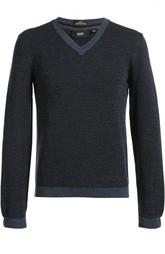 Шерстяной пуловер фактурной вязки HUGO BOSS Black Label