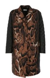 Пальто прямого кроя с принтом и стеганым рукавами Dries Van Noten