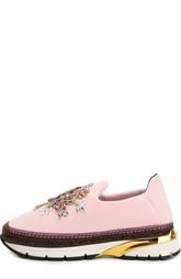 Текстильные кроссовки с декором Dolce & Gabbana