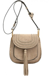 Замшевая сумка Hudson small с плетением и металлическим декором Chloé
