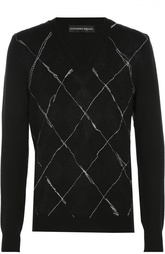 Джемпер из смеси шерсти и шелка с контрастной отстрочкой Alexander McQueen