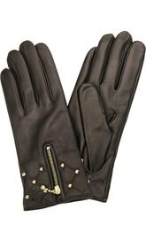 Кожаные перчатки с молниями и заклепками Sermoneta Gloves
