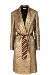 Пальто прямого кроя с поясом и металлизированной отделкой Dries Van Noten