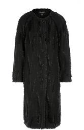 Пальто прямого кроя с круглым вырезом и бахромой St. John