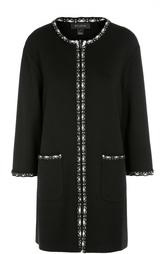 Пальто прямого кроя с укороченным рукавом и контрастной отделкой St. John