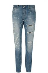 Зауженные джинсы с потертостями и нашивкой Dolce & Gabbana