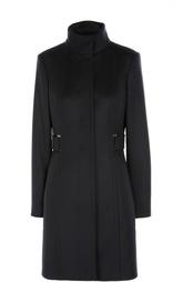 Приталенное шерстяное пальто с высоким воротником HUGO BOSS Black Label