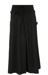 Шерстяная юбка-макси А-силуэта с эластичным поясом Yohji Yamamoto