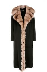 Кашемировое пальто с отделкой из меха соболя Simonetta Ravizza