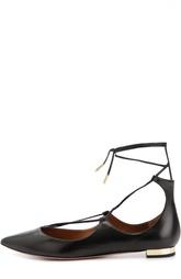 Кожаные балетки Christy на шнуровке Aquazzura