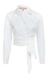 Укороченная хлопковая блуза с поясом Michael Kors