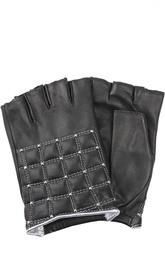 Кожаные перчатки с обрезанными пальцами и заклепками Agnelle