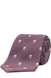 Шелковый галстук с узором в виде черепов Alexander McQueen