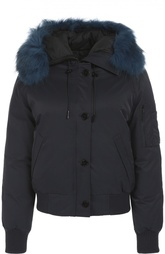 Утепленная куртка с капюшоном и отделкой из меха енота Kenzo