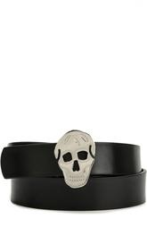 Кожаный ремень с пряжкой в форме черепа Alexander McQueen