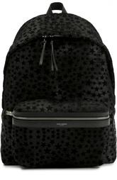 Кожаный рюкзак City с нашивками Saint Laurent