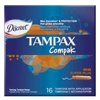 TAMPAX Compak Тампоны женские гигиенические с аппликатором Super Plus Duo 16 шт.